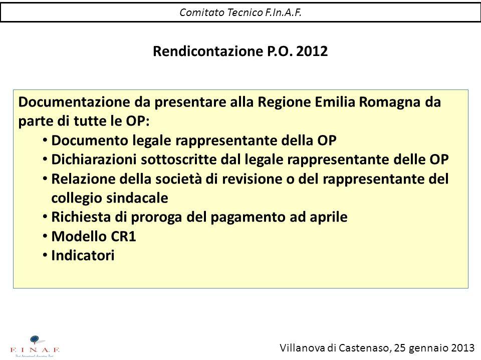 Villanova di Castenaso, 25 gennaio 2013 Documentazione da presentare alla Regione Emilia Romagna da parte di tutte le OP: Documento legale rappresenta