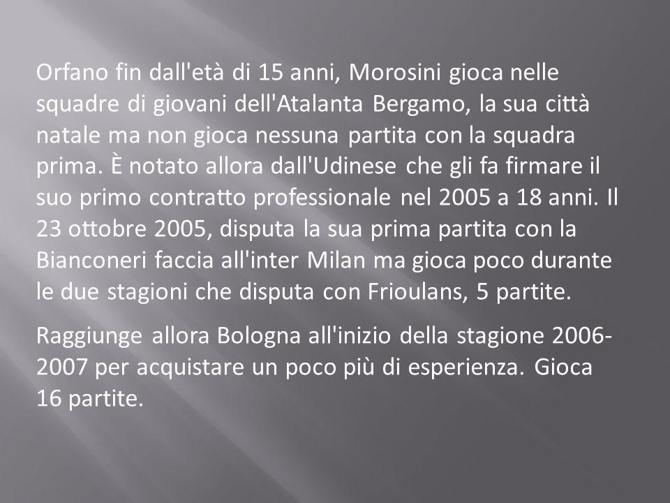 Orfano fin dall'età di 15 anni, Morosini gioca nelle squadre di giovani dell'Atalanta Bergamo, la sua città natale ma non gioca nessuna partita con la