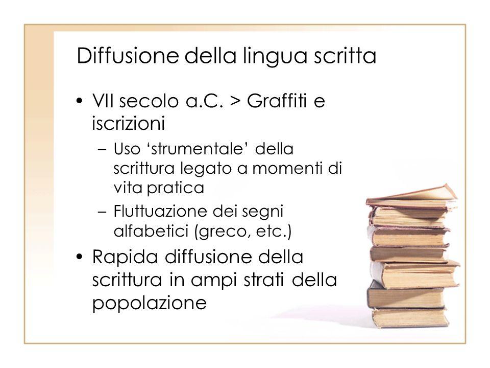 Diffusione della lingua scritta VII secolo a.C.