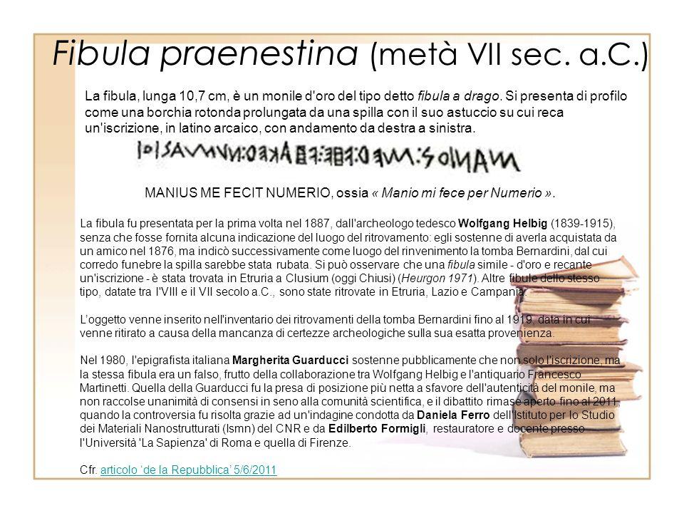 Fibula praenestina (metà VII sec.