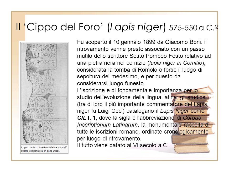 Il Cippo del Foro (Lapis niger) 575-550 a.C..