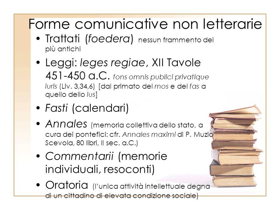 Forme comunicative non letterarie Trattati (foedera) nessun frammento dei più antichi Leggi: leges regiae, XII Tavole 451-450 a.C.