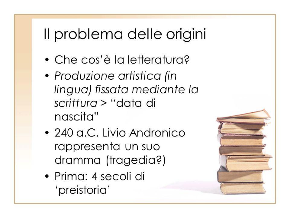 Questioni preliminari Cronologia e diffusione della lingua scritta Forme comunicative non letterarie Forme pre-letterarie: i carmina