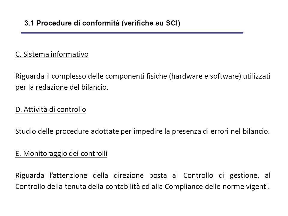 C. Sistema informativo Riguarda il complesso delle componenti fisiche (hardware e software) utilizzati per la redazione del bilancio. D. Attività di c