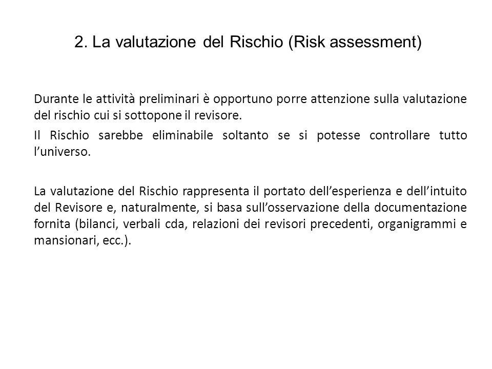 2. La valutazione del Rischio (Risk assessment) Durante le attività preliminari è opportuno porre attenzione sulla valutazione del rischio cui si sott
