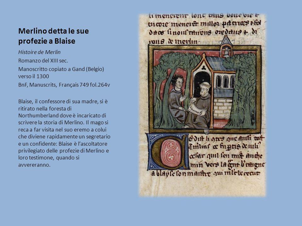 Merlino detta le sue profezie a Blaise Histoire de Merlin Romanzo del XIII sec.