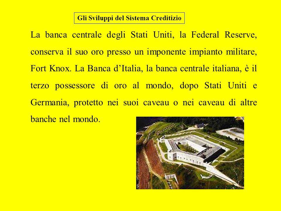 La banca centrale degli Stati Uniti, la Federal Reserve, conserva il suo oro presso un imponente impianto militare, Fort Knox.