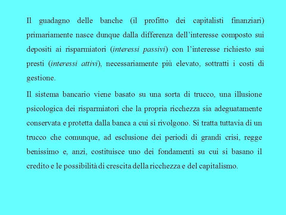 Il guadagno delle banche (il profitto dei capitalisti finanziari) primariamente nasce dunque dalla differenza dellinteresse composto sui depositi ai risparmiatori (interessi passivi) con linteresse richiesto sui presti (interessi attivi), necessariamente più elevato, sottratti i costi di gestione.