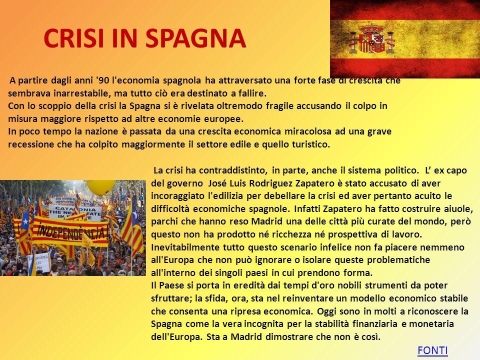 SPREAD Uno degli indicatori più usati per valutare la crisi italiana è lo spread con i bund tedeschi. Lo spread è considerato infatti un indicatore de