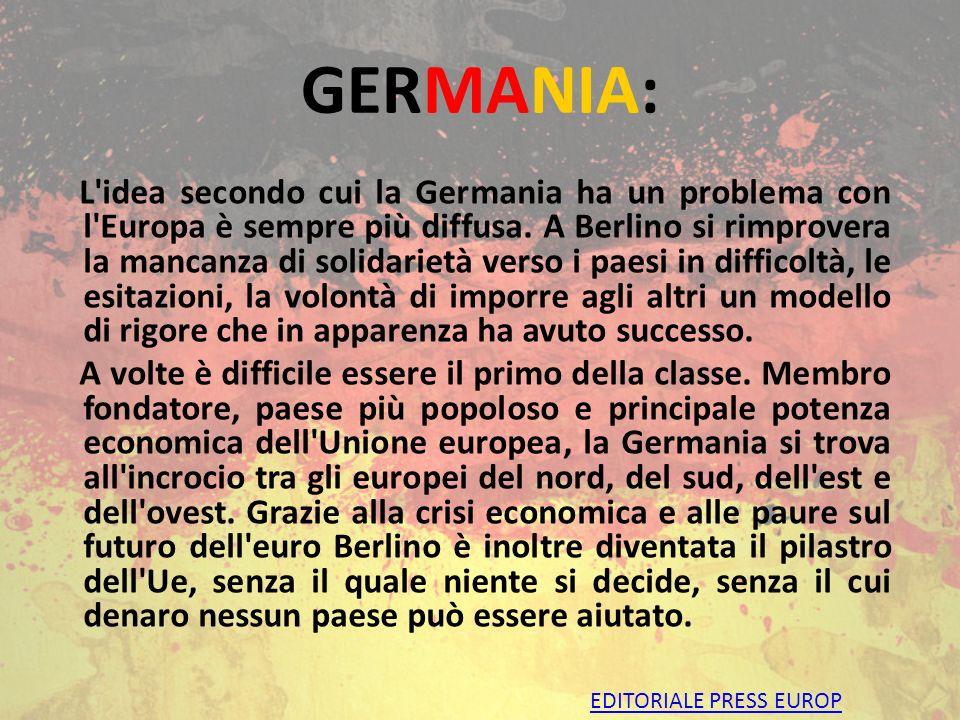 GERMANIA INTRODUZIONE: Germania pilastro dell Unione Europea. ECONOMIA: ripresa economica della Germania dal dopoguerra a oggi. ANGELA MERKEL. CRISI D
