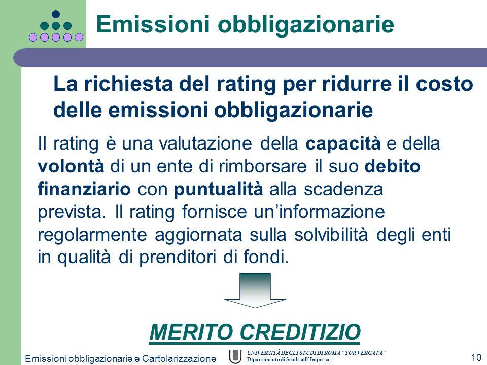UNIVERSITÀ DEGLI STUDI DI ROMA TOR VERGATA Dipartimento di Studi sullImpresa Emissioni obbligazionarie e Cartolarizzazione 10 II rating è una valutazi