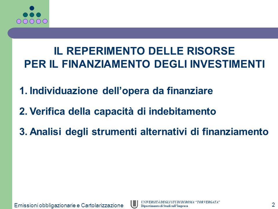UNIVERSITÀ DEGLI STUDI DI ROMA TOR VERGATA Dipartimento di Studi sullImpresa Emissioni obbligazionarie e Cartolarizzazione 2 1.Individuazione delloper