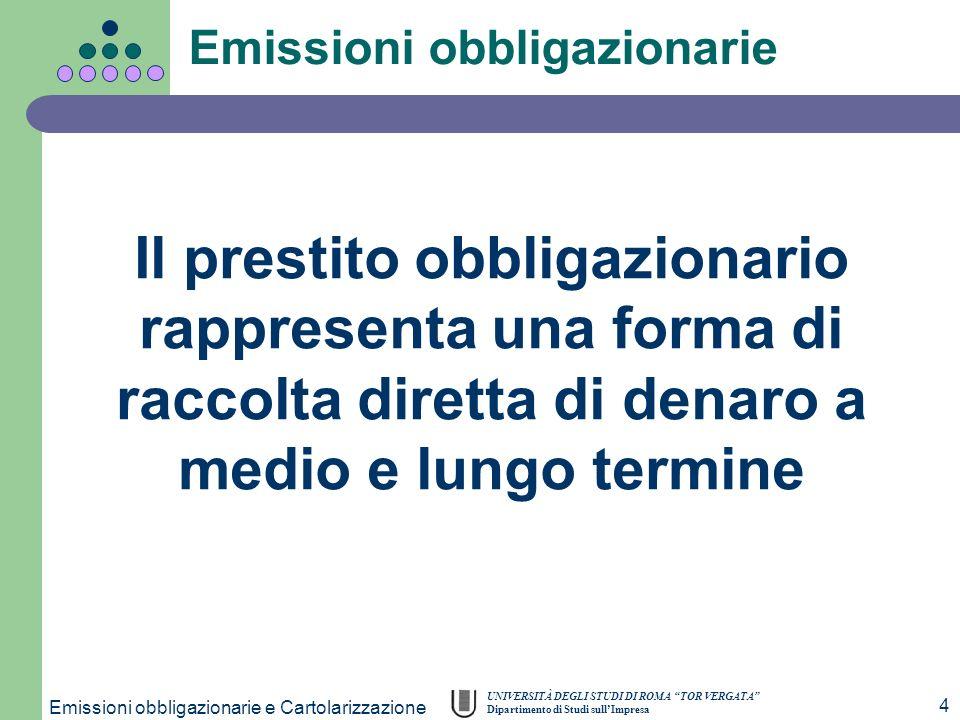 UNIVERSITÀ DEGLI STUDI DI ROMA TOR VERGATA Dipartimento di Studi sullImpresa Emissioni obbligazionarie e Cartolarizzazione 4 Emissioni obbligazionarie