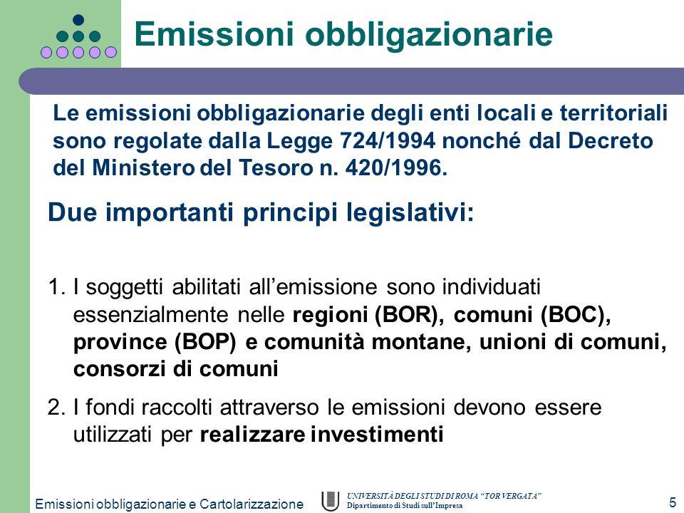 UNIVERSITÀ DEGLI STUDI DI ROMA TOR VERGATA Dipartimento di Studi sullImpresa Emissioni obbligazionarie e Cartolarizzazione 5 Le emissioni obbligaziona