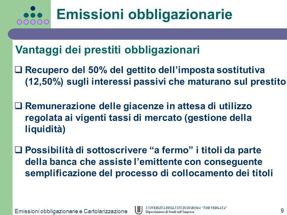 UNIVERSITÀ DEGLI STUDI DI ROMA TOR VERGATA Dipartimento di Studi sullImpresa Emissioni obbligazionarie e Cartolarizzazione 9 Vantaggi dei prestiti obb