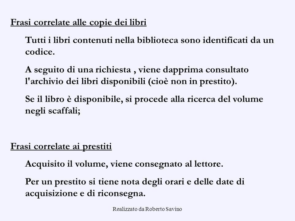 Realizzato da Roberto Savino Frasi correlate alle copie dei libri Tutti i libri contenuti nella biblioteca sono identificati da un codice. A seguito d