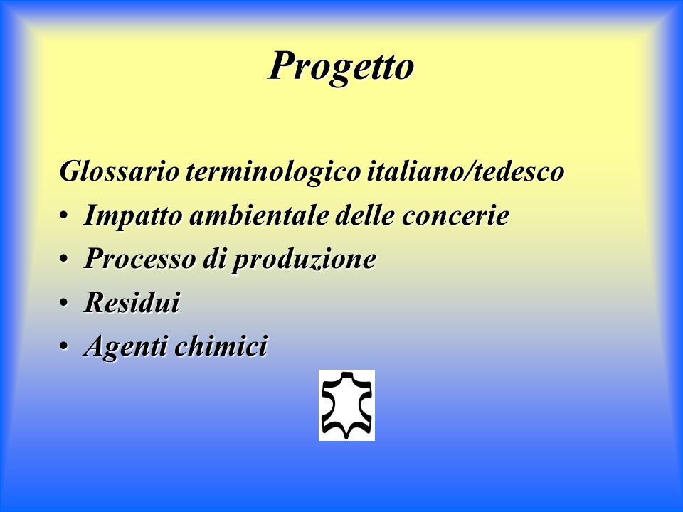 Progetto Glossario terminologico italiano/tedesco Impatto ambientale delle concerieImpatto ambientale delle concerie Processo di produzioneProcesso di produzione ResiduiResidui Agenti chimiciAgenti chimici
