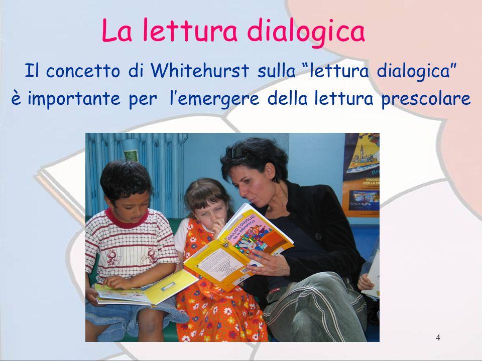 4 La lettura dialogica Il concetto di Whitehurst sulla lettura dialogica è importante per lemergere della lettura prescolare