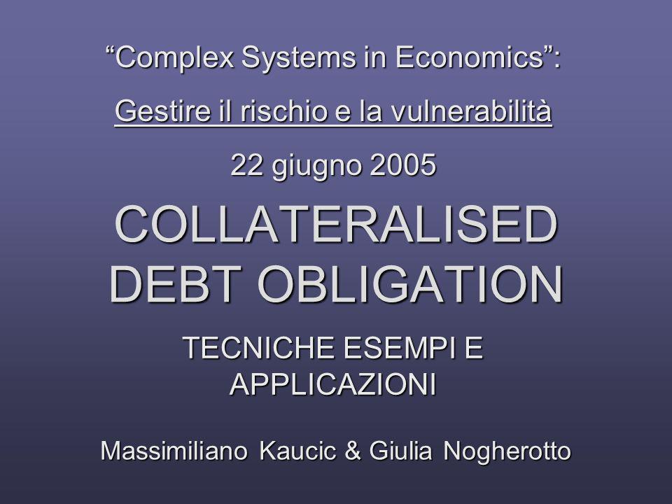 Esempio 2 Loan/BondPortfolio () (collaterale) SPV AAA920mA35mBBB25mEQUITY20m Euribor + 100bp 1 billion Eur+ 50 bp Eur+ 150 bp Eur+ 250 bp Excess Cash Flow