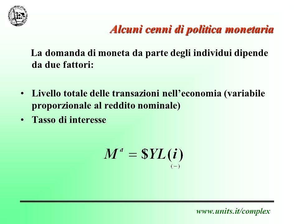 www.units.it/complex Alcuni cenni di politica monetaria La domanda di moneta da parte degli individui dipende da due fattori: Livello totale delle transazioni nelleconomia (variabile proporzionale al reddito nominale) Tasso di interesse