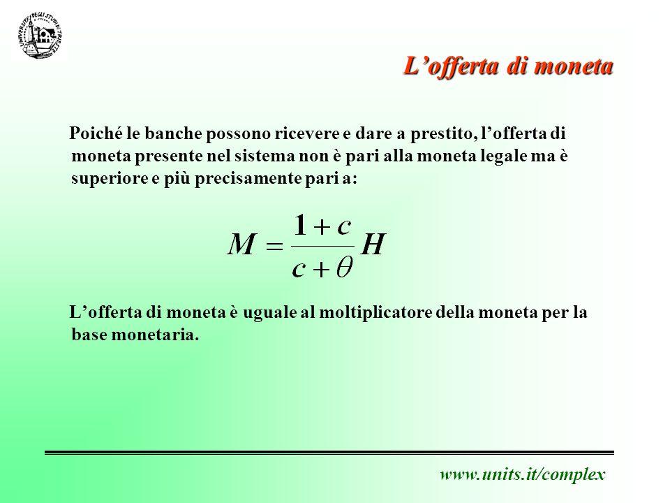 www.units.it/complex Politica monetaria e P/E Poiché: cresce in seguito al miglioramento della congiuntura economica.