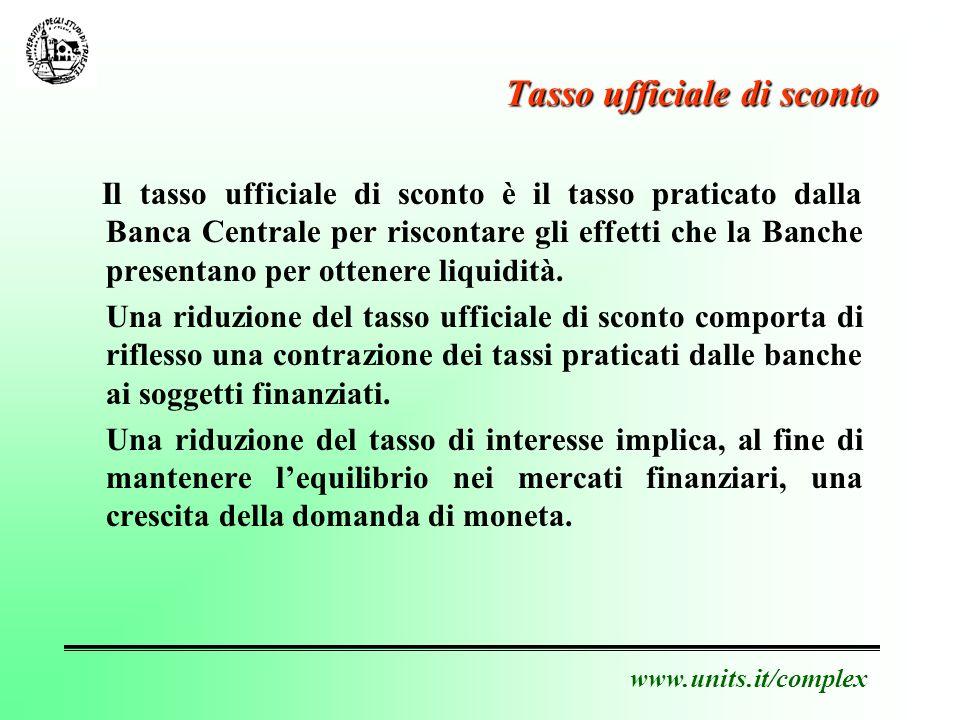 www.units.it/complex Tasso ufficiale di sconto Il tasso ufficiale di sconto è il tasso praticato dalla Banca Centrale per riscontare gli effetti che la Banche presentano per ottenere liquidità.