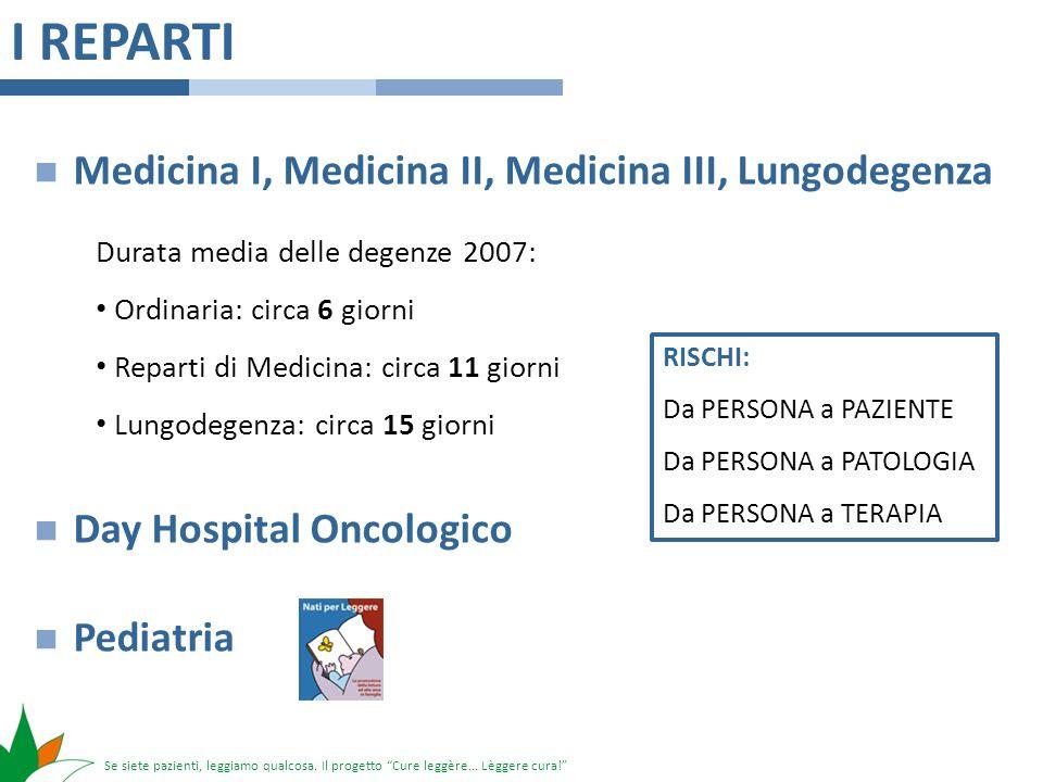 Se siete pazienti, leggiamo qualcosa. Il progetto Cure leggère... Lèggere cura! I REPARTI Medicina I, Medicina II, Medicina III, Lungodegenza Day Hosp