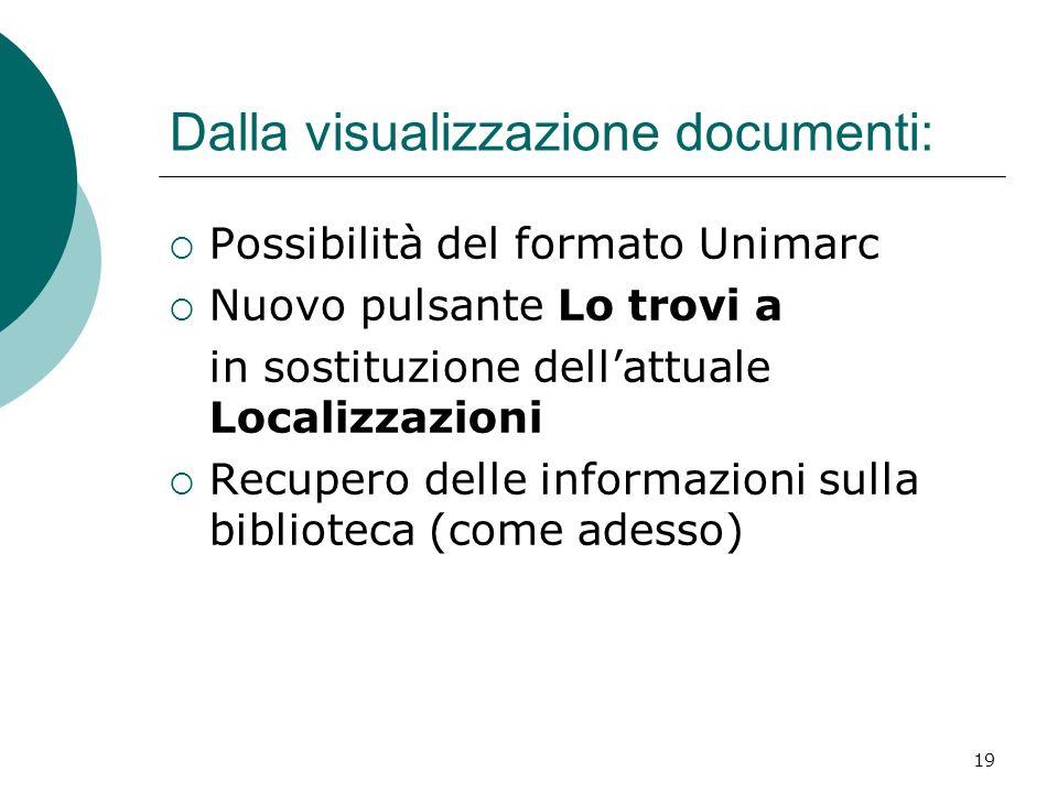 19 Dalla visualizzazione documenti: Possibilità del formato Unimarc Nuovo pulsante Lo trovi a in sostituzione dellattuale Localizzazioni Recupero dell