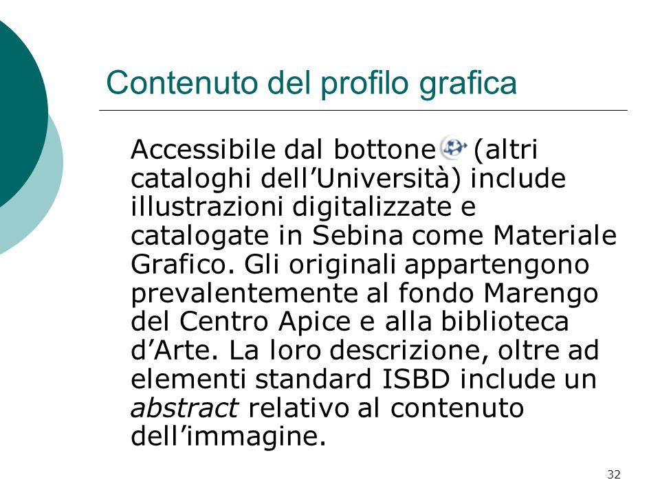 32 Contenuto del profilo grafica Accessibile dal bottone (altri cataloghi dellUniversità) include illustrazioni digitalizzate e catalogate in Sebina c