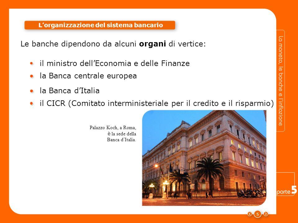 Le banche dipendono da alcuni organi di vertice: 5 Lorganizzazione del sistema bancario Palazzo Koch, a Roma, è la sede della Banca d Italia. il minis