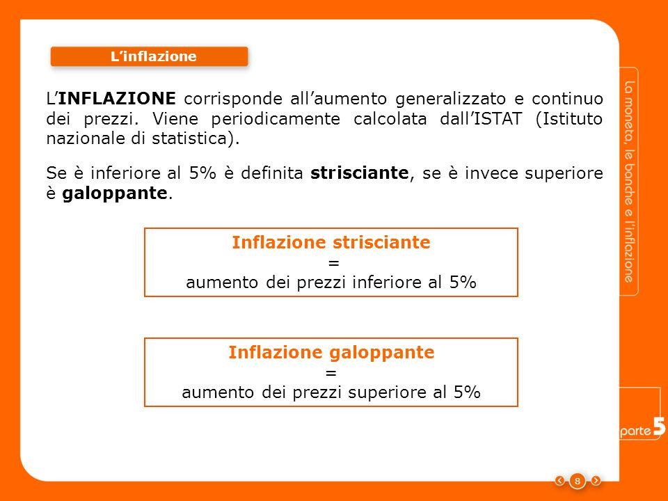 8 Linflazione LINFLAZIONE corrisponde allaumento generalizzato e continuo dei prezzi. Viene periodicamente calcolata dallISTAT (Istituto nazionale di