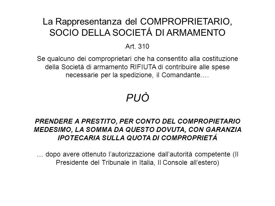 La Rappresentanza del COMPROPRIETARIO, SOCIO DELLA SOCIETÁ DI ARMAMENTO Art.