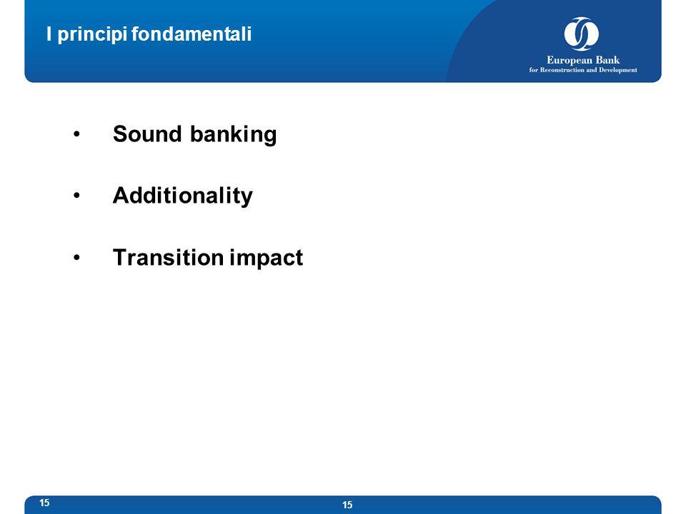 15 I principi fondamentali Sound banking Additionality Transition impact