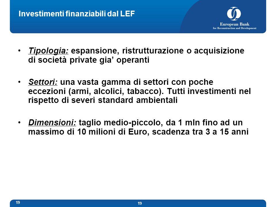19 Investimenti finanziabili dal LEF Tipologia: espansione, ristrutturazione o acquisizione di società private gia operanti Settori: una vasta gamma di settori con poche eccezioni (armi, alcolici, tabacco).