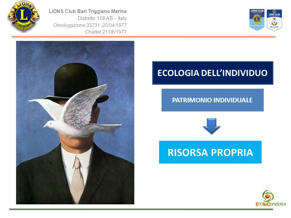 LIONS Club Bari Triggiano Marina Distretto 108 AB – Italy Omologazione 33731 -20/04/1977 Charter 21/06/1977 ECOLOGIA DELLINDIVIDUO PATRIMONIO INDIVIDU