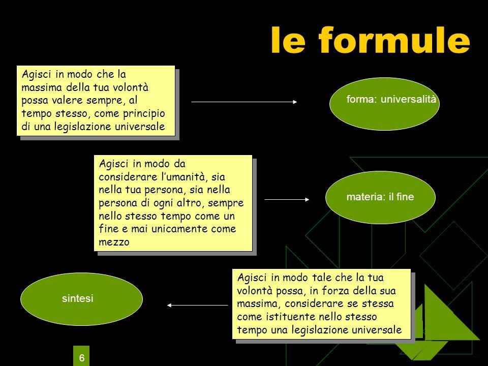 6 le formule Agisci in modo che la massima della tua volontà possa valere sempre, al tempo stesso, come principio di una legislazione universale Agisc