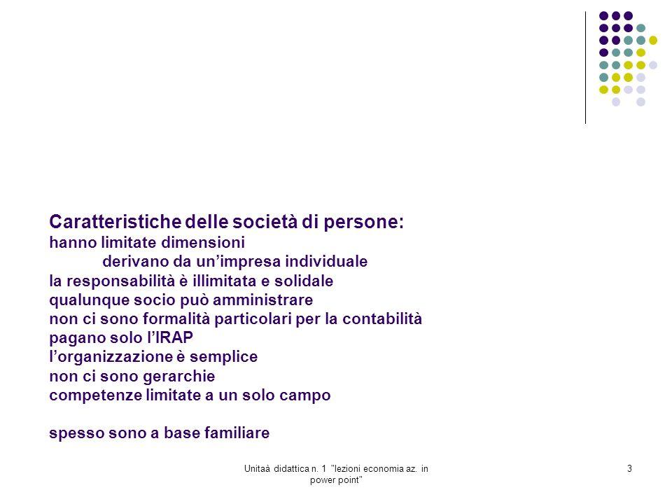 Unitaà didattica n.1 lezioni economia az. in power point 4 Societa di capitali 1.