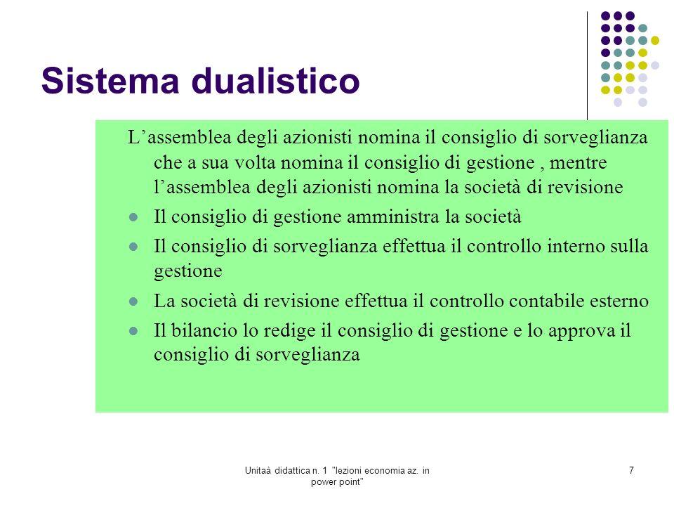 Unitaà didattica n.1 lezioni economia az.