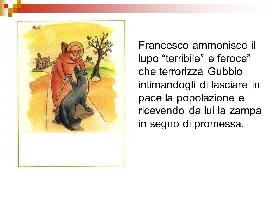 Francesco ammonisce il lupo terribile e feroce che terrorizza Gubbio intimandogli di lasciare in pace la popolazione e ricevendo da lui la zampa in se