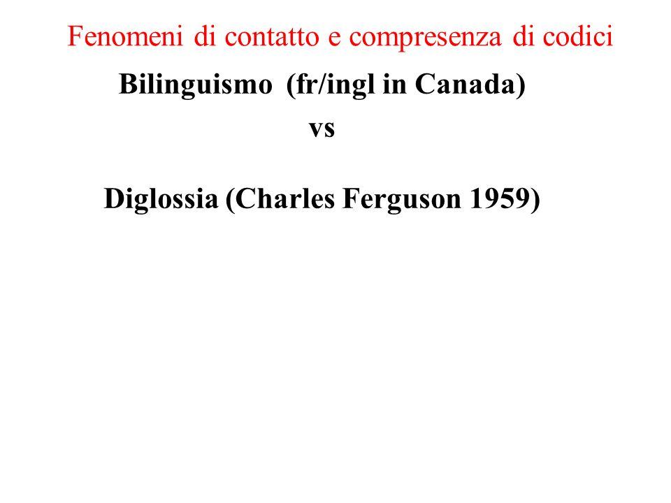 Fenomeni di contatto e compresenza di codici Bilinguismo (fr/ingl in Canada) vs Diglossia (Charles Ferguson 1959)