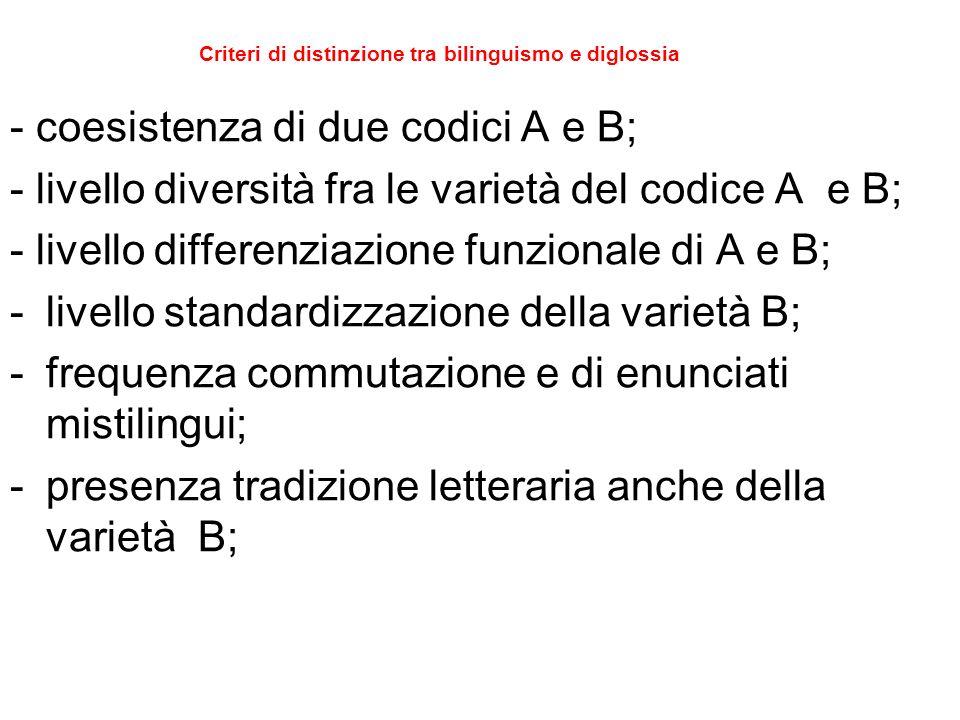 Criteri di distinzione tra bilinguismo e diglossia - coesistenza di due codici A e B; - livello diversità fra le varietà del codice A e B; - livello differenziazione funzionale di A e B; -livello standardizzazione della varietà B; -frequenza commutazione e di enunciati mistilingui; -presenza tradizione letteraria anche della varietà B;
