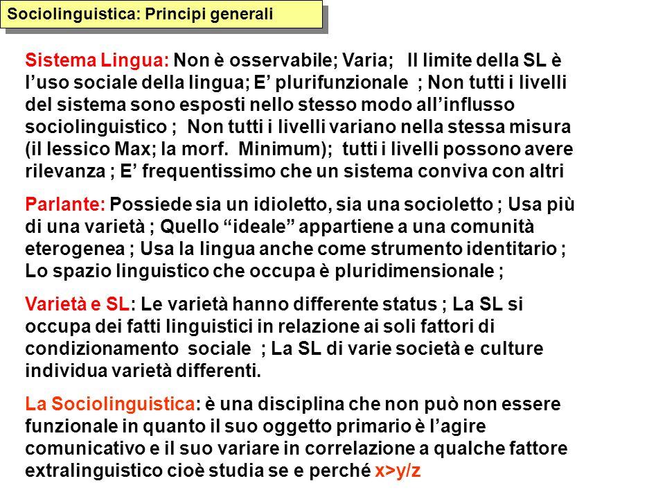 Sistema Lingua: Non è osservabile; Varia; Il limite della SL è luso sociale della lingua; E plurifunzionale ; Non tutti i livelli del sistema sono esposti nello stesso modo allinflusso sociolinguistico ; Non tutti i livelli variano nella stessa misura (il lessico Max; la morf.