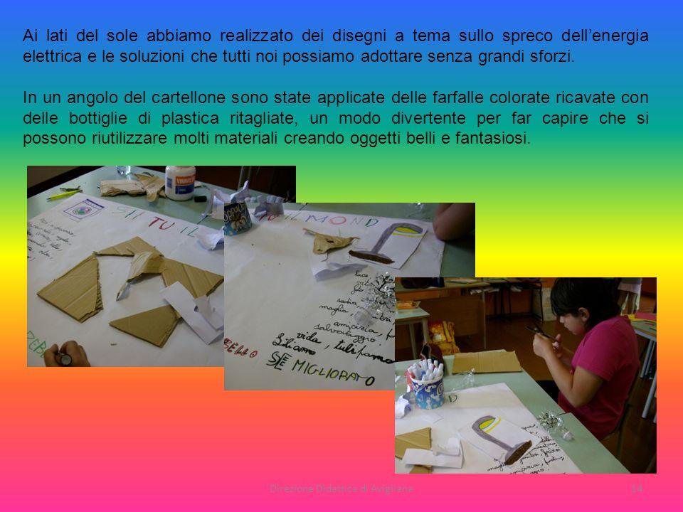 Direzione Didattica di Avigliana14 Ai lati del sole abbiamo realizzato dei disegni a tema sullo spreco dellenergia elettrica e le soluzioni che tutti