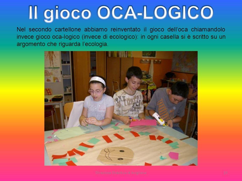 Direzione Didattica di Avigliana15 Nel secondo cartellone abbiamo reinventato il gioco delloca chiamandolo invece gioco oca-logico (invece di ecologic