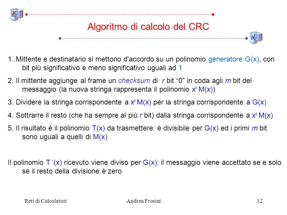 Reti di CalcolatoriAndrea Frosini12 Algoritmo di calcolo del CRC 1.