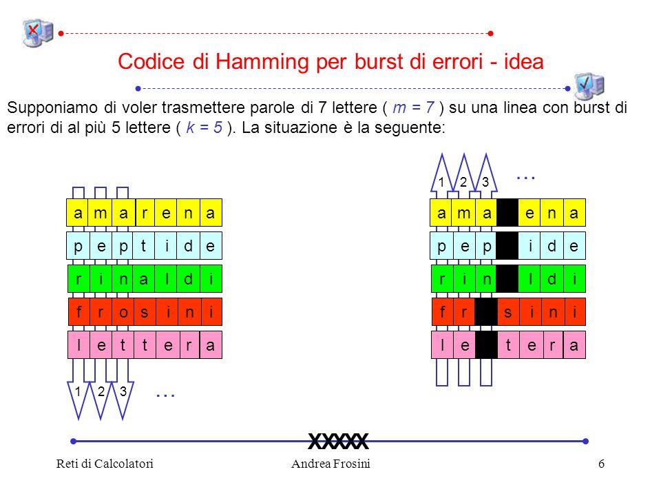 Reti di CalcolatoriAndrea Frosini6 23 Codice di Hamming per burst di errori - idea Supponiamo di voler trasmettere parole di 7 lettere ( m = 7 ) su una linea con burst di errori di al più 5 lettere ( k = 5 ).