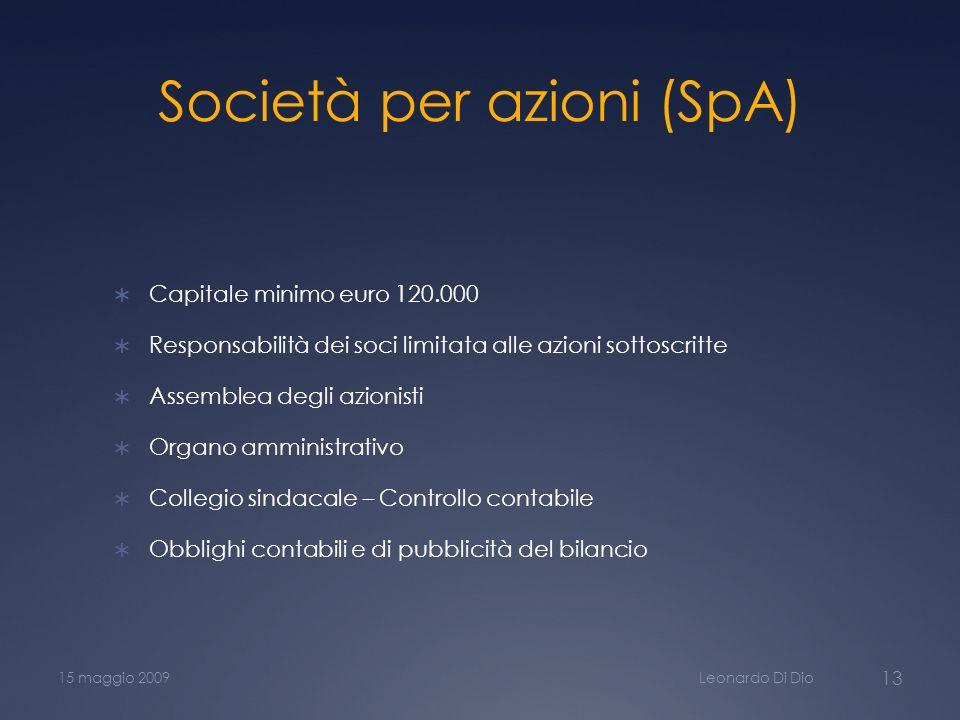 Società per azioni (SpA) Capitale minimo euro 120.000 Responsabilità dei soci limitata alle azioni sottoscritte Assemblea degli azionisti Organo ammin
