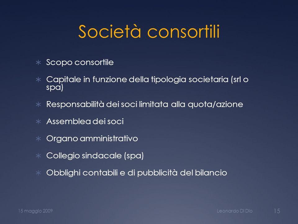 Società consortili Scopo consortile Capitale in funzione della tipologia societaria (srl o spa) Responsabilità dei soci limitata alla quota/azione Ass