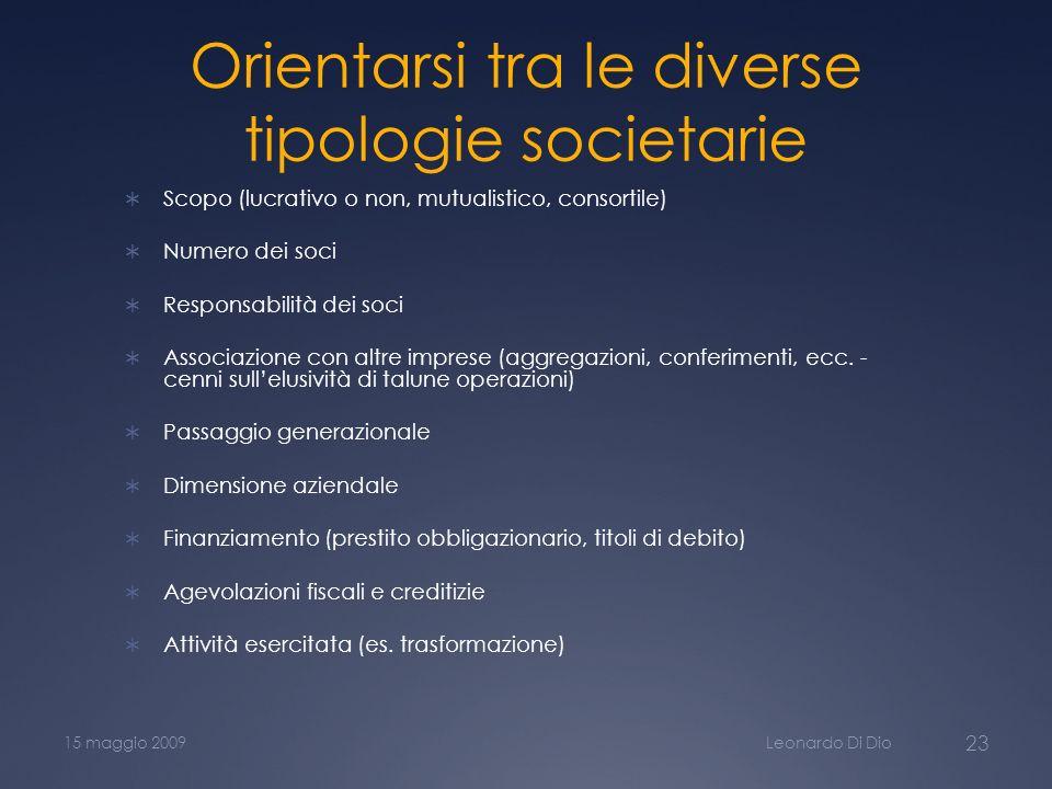Orientarsi tra le diverse tipologie societarie Scopo (lucrativo o non, mutualistico, consortile) Numero dei soci Responsabilità dei soci Associazione
