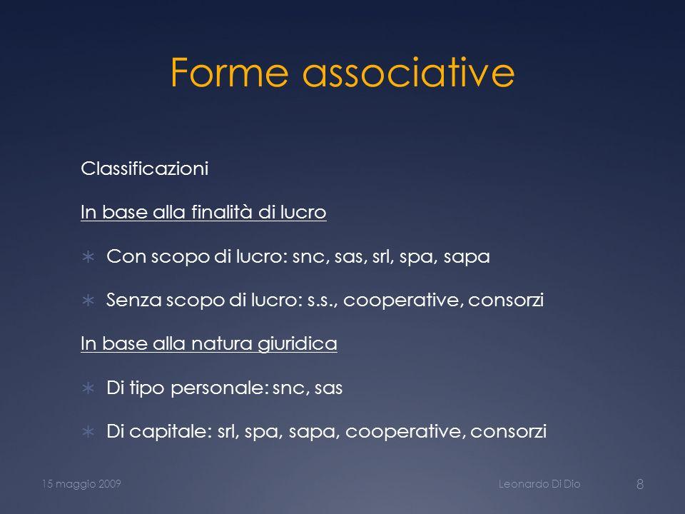 Forme associative Classificazioni In base alla finalità di lucro Con scopo di lucro: snc, sas, srl, spa, sapa Senza scopo di lucro: s.s., cooperative,